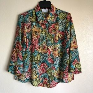 Alfred Dunner Colorful Button Up Top Size 14P